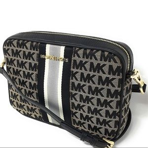 Michael Kors Jet Set Large Black Beige Crossbody